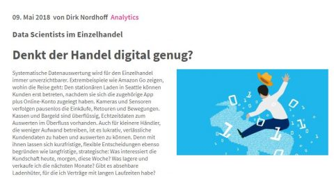 Ein Screenshot von einem Fachbeitrag für die Website BusinessHeute.de über die Digitalisierung im Einzelhandel